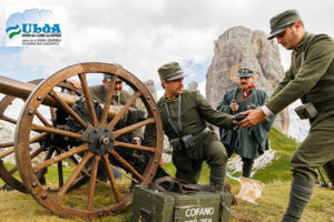 Historical re-enactment at Averau Mountain Hut in 5 Torri in Cortina d'Ampezzo