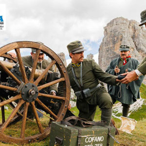 Historical re-enactment at Averau Mountain Hut in 5 Torri in Cortina d'Ampezzo