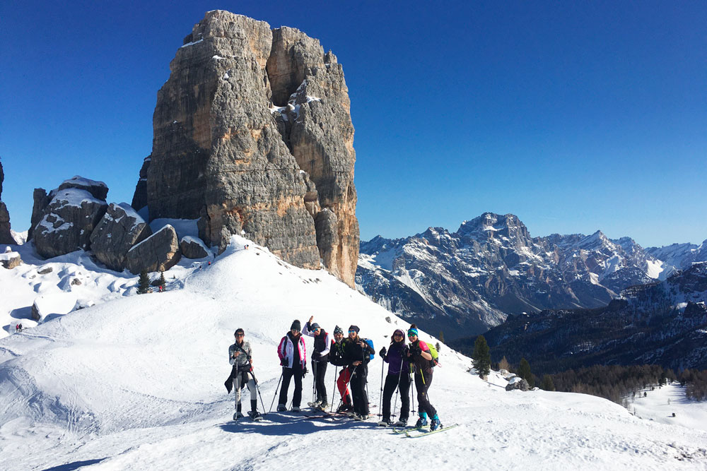 Snowshoeing and ski mountaineering at Averau Mountain Hut in 5 Torri in Cortina d'Ampezzo
