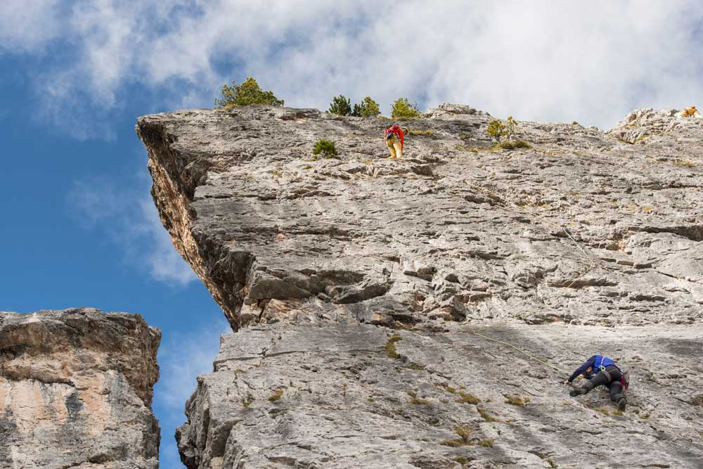 Climbing and via ferrata routes at Averau Mountain Hut in 5 Torri in Cortina d'Ampezzo