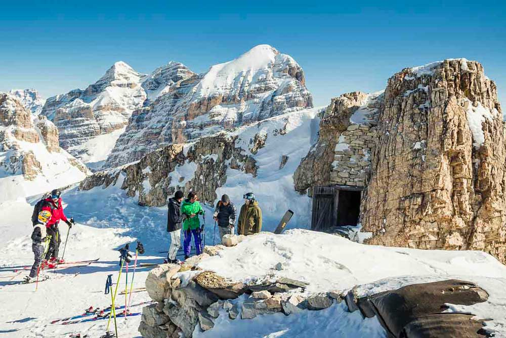 Great War Ski Tour at Averau Mountai Hut in 5 Torri in Cortina d'Ampezzo