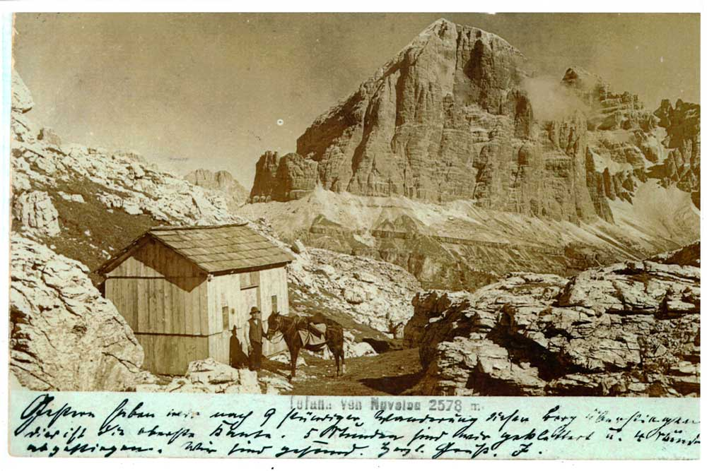 End of the 19th century, first construction built in the Nuvolau Forcella in 5 Torri in Cortina d'Ampezzo