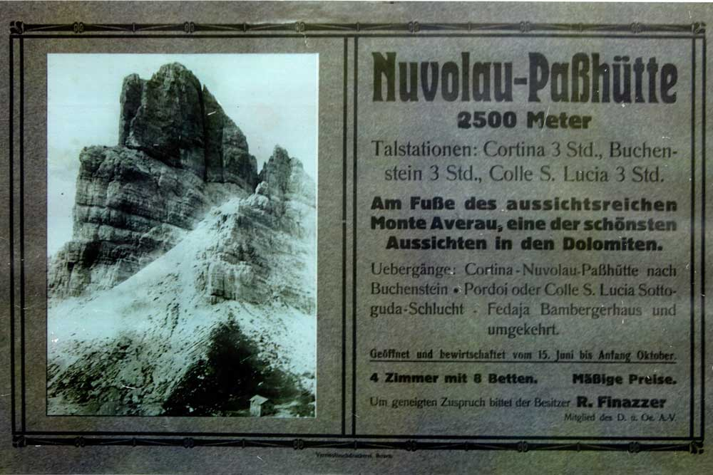 At the beginning of the 1900s second construction built in Nuvolau Forcella in 5 Torri in Cortina d'Ampezzo