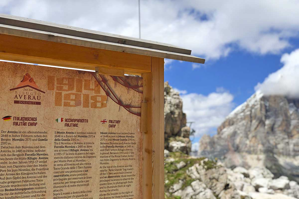 Open Air Museum of the Great War at the Averau Mountain Hut in 5 Torri in Cortina d'Ampezzo
