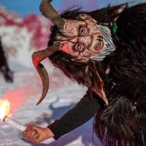 Krampus on slope at Averau Mountain Hut - 5 Torri - Cortina d'Ampezzo - Dolomiti